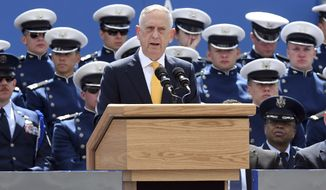 Secretary of Defense James Mattis speaks at the Air Force Academy graduation in Colorado Springs, Colo. on Wednesday, May 23, 2018. (Jerilee Bennett/The Gazette via AP)