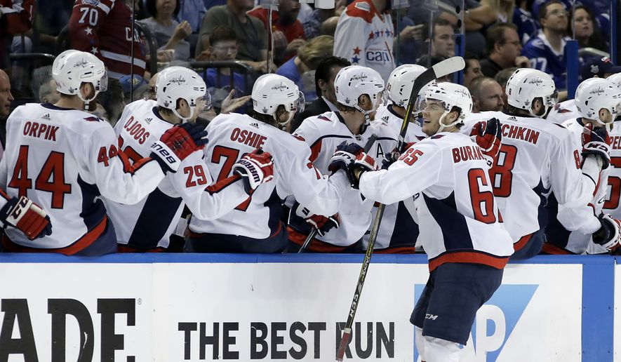 Washington Capitals left wing Andre Burakovsky celebrates a goal against the Tampa Bay Lightning with teammates on the bench during the second period of Game 7 of the NHL Eastern Conference finals hockey playoff series Wednesday, May 23, 2018, in Tampa, Fla. (AP Photo/Chris O'Meara)