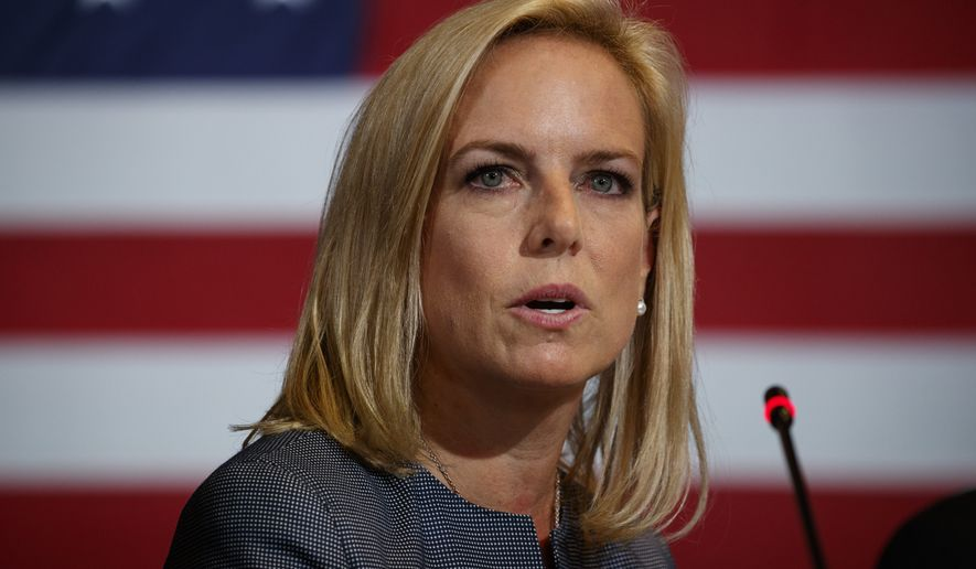 Secretary of Homeland Security Kirstjen Nielsen speaks during a roundtable on immigration policy with President Donald Trump at Morrelly Homeland Security Center, Wednesday, May 23, 2018, in Bethpage, N.Y. (AP Photo/Evan Vucci) **FILE**