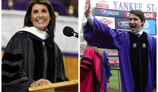 United Nations Ambassador Nikki Haley, left, gives the 2018 Commencement speech May 10, 2018, in Clemson, S.C., and Prime Minister Justin Trudeau takes part in the procession prior to delivering the commencement address to New York University graduates at Yankee Stadium in New York on May 16, 2018. (AP Photo/The Canadian Press)
