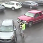 Video of the parking lot attack was posted online by the police department Wednesday.