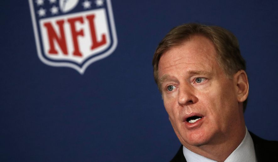 NFL commissioner Roger Goodell tells reporters the NFL team owners have reached agreement on a new league policy that requires players to stand for the national anthem or remain in the locker room during the NFL owner's spring meeting Wednesday, May 23, 2018, in Atlanta. (AP Photo/John Bazemore)