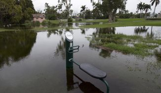 FILE- This May 21, 2018 file photo shows exercise equipment partially submerged in Hollywood, Fla. Heavy rains flowing from the Gulf of Mexico caused flooding in the Southeastern United States ahead of what forecasters said Wednesday, May 23, 2018, could become the season's first tropical storm. (AP Photo/Wilfredo Lee, File)