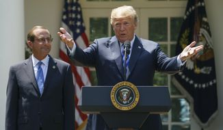 FILE - In this May 11, 2018 file photo President Donald Trump speaks during an event about prescription drug prices with Health and Human Services Secretary Alex Azar in the Rose Garden of the White House in Washington. (AP Photo/Carolyn Kaster, file)