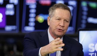 In a March 14, 2018, file photo, Ohio Gov. John Kasich is interviewed on the floor of the New York Stock Exchange. (AP Photo/Richard Drew, File)