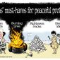 Hamas' must-haves for peaceful protests: (Illustration by Alexander Hunter for The Washington Times)