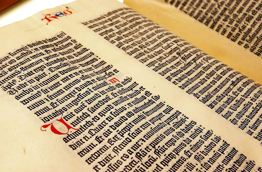 A page from a Gutenberg Bible. (The Washington Times) ** FILE **