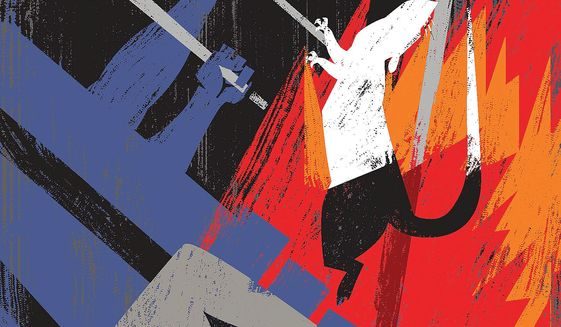 Illustration on the hunt for spies and witches by Linas Garsys/The Washington Times