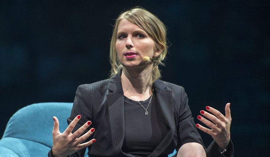 Chelsea Manning, the former Army intelligence analyst who served about seven years in federal prison for leaking government documents to Wikileaks, speaks at the C2 business conference Thursday, May 24, 2018, in Montreal. (Ryan Remiorz/The Canadian Press via AP) ** FILE **