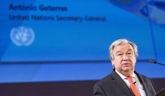 United Nations Secretary General Antonio Guterres presents his disarmament agenda at a public lecture at the University of Geneva, on Thursday, May 24, 2018, in Geneva, Switzerland. (Cyril Zingaro/Keystone via AP)