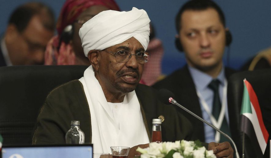 Sudan's President Omar al-Bashir speaks during the extraordinary summit of the Organization of Islamic Cooperation (OIC), in Istanbul, Turkey, Friday, May 18, 2018. Turkey has called on Muslim nations to stand with Palestinians and to work to stop countries joining the United States in relocating their Israeli embassy from Tel Aviv to Jerusalem. (Presidential Press Service/Pool via AP)
