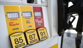 Prices for the three grades of gasoline light up the pump at a Shell station Friday, May 25, 2018, in southeast Denver are shown in this file photo. On June 30, 2018, President Trump tweeted that he got an agreement from Saudi Arabia to boost its oil production. (AP Photo/David Zalubowski) **FILE**
