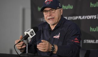 Washington Capitals head coach Barry Trotz speaks during an NHL hockey press conference, Friday, May 25, 2018, in Arlington, Va. (AP Photo/Nick Wass)