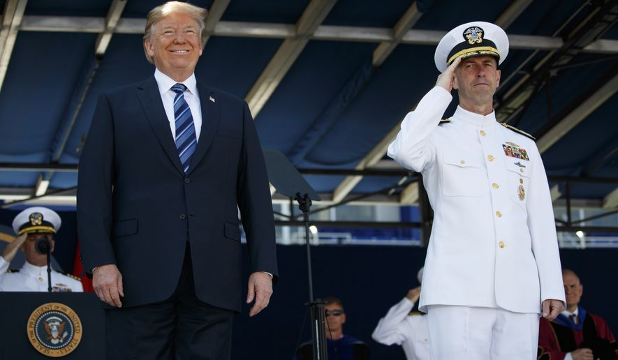 President Donald Trump smiles as he arrives for the graduation and commissioning ceremony at the U.S. Naval Academy, Friday, May 25, 2018, in Annapolis, Md. (AP Photo/Evan Vucci)