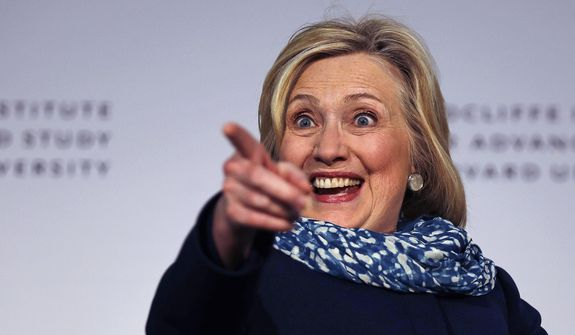 Hillary Clinton points to the audience as she is introduced at Harvard University in Cambridge, Mass., Friday, May 25, 2018. Harvard University's Radcliffe Institute honored Clinton with the 2018 Radcliffe Medal. (AP Photo/Charles Krupa) ** FILE **