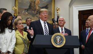 """President Donald Trump speaks during a signing ceremony for the """"Economic Growth, Regulatory Relief, and Consumer Protection Act,"""" in the Roosevelt Room of the White House, Thursday, May 24, 2018, in Washington.  In a dramatic diplomatic turn, Trump on Thursday canceled next month's summit with North Korea's Kim Jong Un, citing the """"tremendous anger and open hostility"""" in a recent statement by the North.   (AP Photo/Evan Vucci)"""