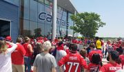 Fans of the Washington Capitals gather outside Kettler Capitals Iceplex in Arlington, Va. on Saturday, May 26, 2018, to see players depart for Las Vegas for the start of the Stanley Cup Final. (Photo by Adam Zielonka / The Washington Times)