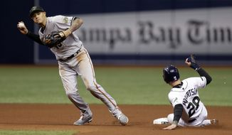 Baltimore Orioles shortstop Manny Machado, left, forces Tampa Bay Rays' Daniel Robertson at second on a fielder's choice by Carlos Gomez during the fourth inning of a baseball game Saturday, May 26, 2018, in St. Petersburg, Fla. (AP Photo/Chris O'Meara)