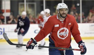 Washington Capitals left wing Alex Ovechkin, of Russia, skates during NHL hockey practice, Saturday, May 26, 2018, in Arlington, Va.  Ovechkin is having fun, scoring goals, leading the Capitals to the Stanley Cup Final and destroying the bad rep some laid on him for not being able to get past the second round of the playoffs. (AP Photo/Nick Wass) ** FILE **