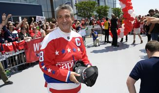 Washington Capitals owner Ted Leonsis reacts as he takes part in a sendoff rally after an NHL hockey practice, Saturday, May 26, 2018, in Arlington, Va. (AP Photo/Nick Wass) ** FILE **