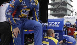 Alexander Rossi waits in the pits before a practice session for the IndyCar Indianapolis 500 auto race at Indianapolis Motor Speedway, in Indianapolis Monday, May 21, 2018. (AP Photo/Darron Cummings)