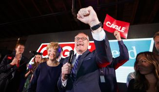 FILE - In this May 22, 2018 file photo, Georgia Republican gubernatorial candidate, Lt. Gov. Casey Cagle speaks to his supporters as he enters a runoff with Brian Kemp during an election-night watch party in Gainesville, Ga.,  Some of the top Republican primary contests in Georgia, including one deciding who will face a Democrat vying to become the first black female governor in the U.S., are still undecided after Tuesday, May 22 primaries. They will head to a runoff on July 24.No GOP candidate for governor, lieutenant governor or secretary of state was able to secure more than 50 percent of the vote, triggering runoffs between the top two in each race.  (AP Photo/Todd Kirkland, File)