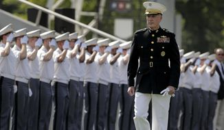 General Joseph F. Dunford Jr., Chairman of the Joint Chiefs of Staff, enters Michie Stadium to give the graduation addresss during graduation ceremonies at the United States Military Academy, Saturday, May 26, 2018, in West Point, N.Y. (AP Photo/Julie Jacobson)
