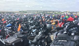 Thousands of motorcycles are parked outside the Pentagon ahead of the annual 'Ride for Freedom' organized by Rolling Thunder on Sunday. (Photographs by Laura Kelly/The Washington Times)