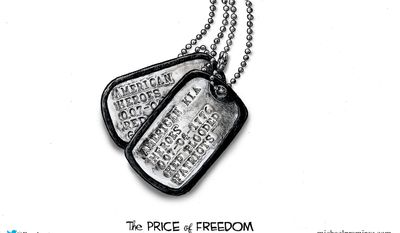 The Price of Freedom (Illustration by Michael Ramirez for Creators Syndicate)