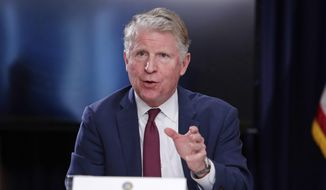 In this May 10, 2018, file photo, New York County District Attorney Cyrus R. Vance Jr. gestures while responding to a question during a news conference in New York. (AP Photo/Frank Franklin II, File)