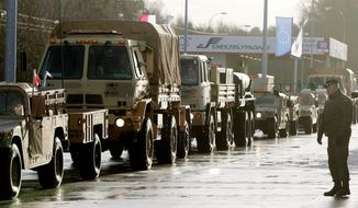 In this file photo taken Jan. 12, 2017, welcomed in Zagan, Poland, first U.S. troops are arriving at the Zagan base in western Poland as part of the deterrence force of some 1,000 troops to be based here and reassure Poland that is worried about Russia's activity. (AP Photo/Czarek Sokolowski) ** FILE **
