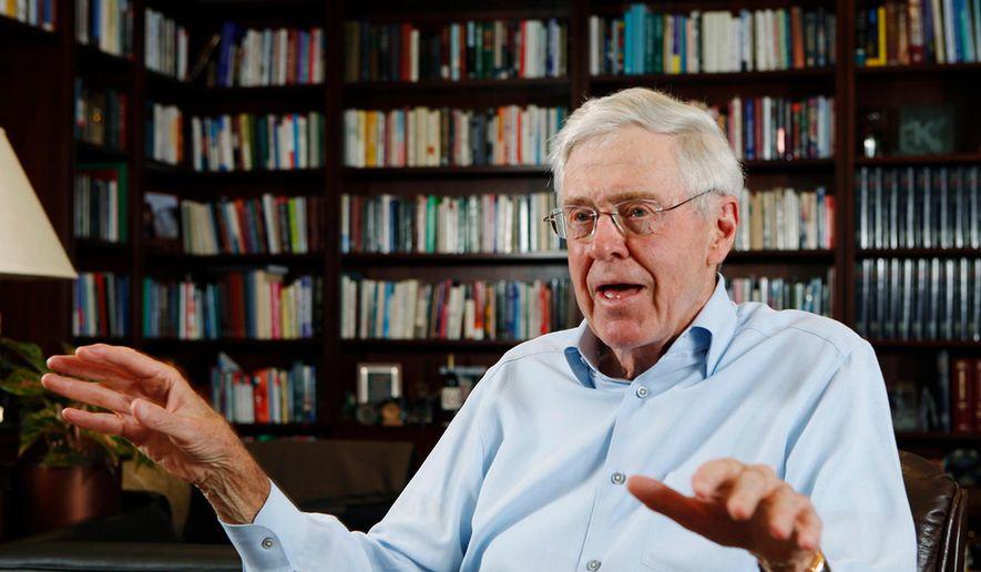 Charles Koch speaks in his office at Koch Industries in Wichita, Kan. (Bo Rader/The Wichita Eagle via AP) ** FILE **