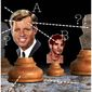 Illustration on conspiracy theories about the RFK assassination by Alexander Hunter/The Washington Times