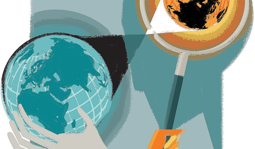 Illustration on reassessing East/West relations by Linas Garsys/The Washington Times
