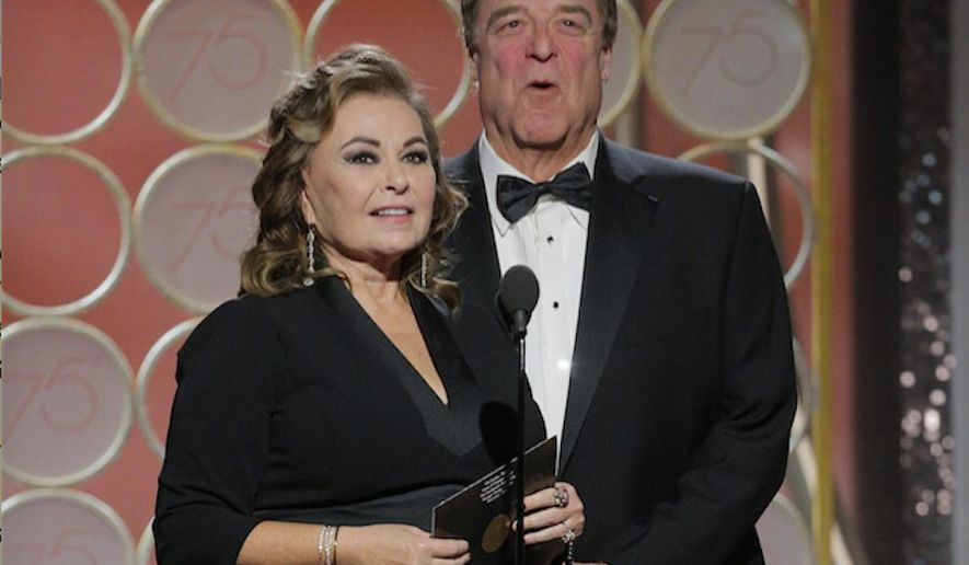 "Roseanne Barr's recently rebooted ""Roseanne"" was canceled Tuesday after firing off an offensive tweet. Miss Barr, seen here with co-star John Goodman, apologized and said she would be leaving Twitter. (ASSOCIATED PRESS)"