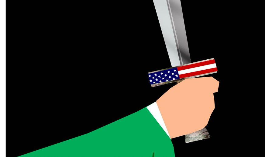 Illustration on U.S. forces fighting for Saudi interests in Yemen by Alexander Hunter/The Washington Times