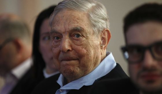 "George Soros, founder and chairman of the Open Society Foundations, listens to the conference after his speech titled ""How to save the European Union"" as he attends the European Council On Foreign Relations Annual Council Meeting in Paris, Tuesday, May 29, 2018. (AP Photo/Francois Mori) ** FILE **"