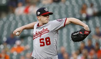 Washington Nationals starting pitcher Jeremy Hellickson throws to a Baltimore Orioles batter during the second inning of a baseball game, Tuesday, May 29, 2018, in Baltimore. (AP Photo/Patrick Semansky)