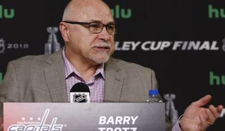 Washington Capitals head coach Barry Trotz answers a question during a news conference after hockey practice Tuesday, May 29, 2018, in Las Vegas. The Capitals will face the Vegas Golden Knights in Game 2 of the Stanley Cup NHL Finals on Wednesday. (AP Photo/Ross D. Franklin)