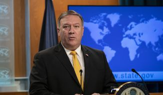 Secretary of State Mike Pompeo releases the annual U.S. assessment of religious freedom around the world, at the State Department in Washington, Tuesday, May 29, 2018. (AP Photo/J. Scott Applewhite)