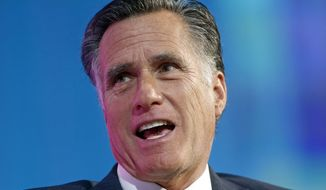 In this Jan. 19, 2018, file photo, former Republican presidential candidate Mitt Romney speaks at a conference in Salt Lake City. (AP Photo/Rick Bowmer, File)