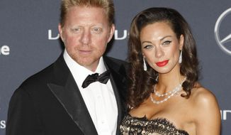 FILE - In this Feb. 6, 2012 file photo German tennis legend Boris Becker arrives with his wife Lilly for the Laureus World Sports Awards in London. (AP Photo/Lefteris Pitarakis, file)