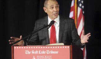 FILE - In this July 28, 2017, file photo, Republican candidate, U.S. Rep. John Curtis speaks during a debate at the Utah Valley Convention in Provo, Utah. Two Utah Republicans vying for Congressional seat faced off in a testy debate Tuesday, May 29, 2018, that showcased sharp divisions on what it means to be conservative in the era of President Donald Trump. Challenger Chris Herrod said he's running to give voters in the heavily Republican district a conservative, pro-Trump choice. Incumbent Curtis, on the other hand, said he's in line with Utah voters, and many are conflicted about the president. (AP Photo/Rick Bowmer, File)