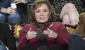 "FILE - In this Jan. 8, 2018, file photo, Roseanne Barr participates in the ""Roseanne"" panel during the Disney/ABC Television Critics Association Winter Press Tour in Pasadena, Calif. ABC canceled its hit reboot of ""Roseanne"" on Tuesday, May 29, 2018, following star Roseanne Barr's racist tweet that referred to former Obama adviser Valerie Jarrett as a product of the Muslim Brotherhood and the ""Planet of the Apes."" (Photo by Richard Shotwell/Invision/AP, File)"