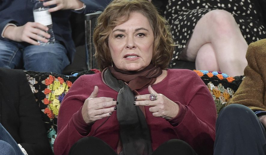 """FILE - In this Jan. 8, 2018, file photo, Roseanne Barr participates in the """"Roseanne"""" panel during the Disney/ABC Television Critics Association Winter Press Tour in Pasadena, Calif. ABC canceled its hit reboot of """"Roseanne"""" on Tuesday, May 29, 2018, following star Roseanne Barr's racist tweet that referred to former Obama adviser Valerie Jarrett as a product of the Muslim Brotherhood and the """"Planet of the Apes."""" (Photo by Richard Shotwell/Invision/AP, File)"""