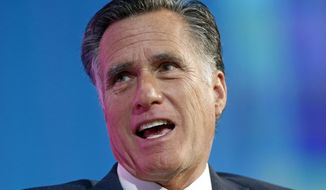 FILE - In this Jan. 19, 2018, file photo, former Republican presidential candidate Mitt Romney speaks at a conference in Salt Lake City. Romney is heading into a debate against Republican state lawmaker Mike Kennedy, who forced him into a primary in the race for a Utah Senate seat. The contest Tuesday evening, May 29, pits heavily favored former presidential contender Romney against Kennedy, a conservative doctor and lawyer who won with state party stalwarts after calling for change in Washington. (AP Photo/Rick Bowmer, File)