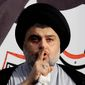 In this March 27, 2016, file photo, Shiite cleric Muqtada al-Sadr gives a speech to his followers before entering the highly fortified Green Zone, in Baghdad, Iraq. Al-Sadr, the influential maverick Shiite cleric whose political coalition beat out Iran's favored candidates to come in first in national elections, says he wants to form a government that puts Iraqis first. (AP Photo/Karim Kadim, File)