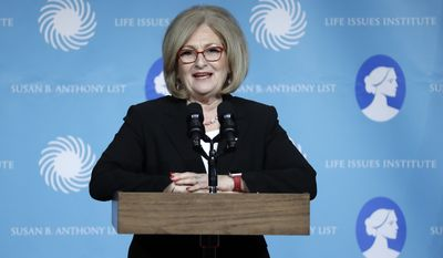 Rep. Diane Black, R-Tenn., speaks at the Susan B. Anthony List & Life Institute Luncheon Tuesday, Feb. 27, 2018, in Nashville, Tenn. (AP Photo/Mark Humphrey)