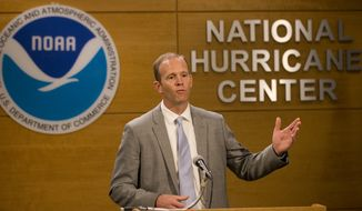 FEMA Administrator Brock Long speaks during a news conference at the National Hurricane Center, Wednesday, May 30, 2018, in Miami. (AP Photo/Wilfredo Lee)