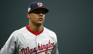 Washington Nationals' Juan Soto prepares for a baseball game against the Baltimore Orioles, Wednesday, May 30, 2018, in Baltimore. (AP Photo/Patrick Semansky)